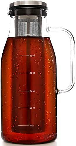Sealing Cold Brew Coffee Maker - 1.5 Quarts Sealing Iced Coffee Maker - Glass Pitcher with Removable Filter