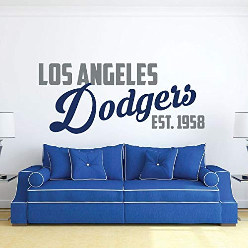 LA Dodgers Wall Decal EST 1958 | Baseball Sports Team Decor | Vinyl MLB Lettering Design for Living Room, Bedroom Headboard, Man Cave | Blue, White, Gray, Black, Other Colors | Small, Large Sizes