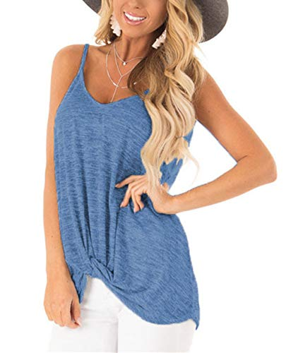 (Barlver Sexy V Neck Tank Tops for Women Twist Knot Shirt Plain Camisole Sleeveless Tunic Blouse (New-Blue, X-Large))