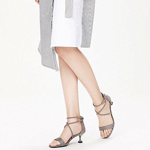 Talons Grey Bal DKFJKI à Ceintures Mode Sandales Hauts Femmes Verres Chaussures Vin pour wq7q6IA
