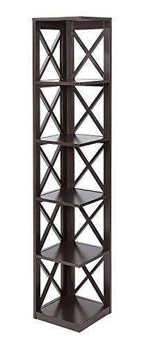 - Convenience Concepts Oxford 5-Tier Corner Bookcase, Espresso