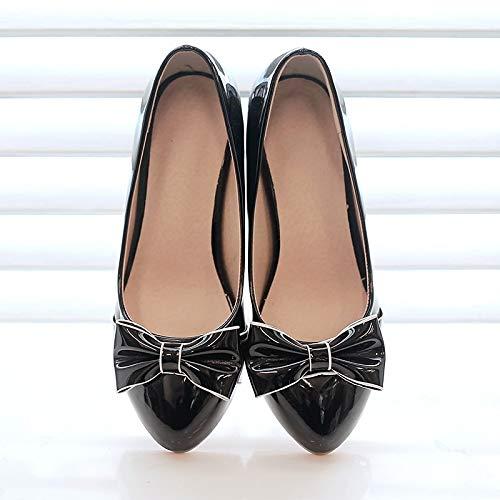 amp; Heel ZHZNVX Bowknot Toe PU Pump Spring Women's Black Heels Fall Beige Round Block Polyurethane Basic Pink Beige Shoes Pxqx1fF