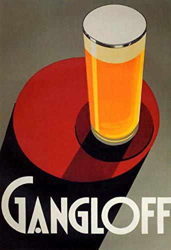 """WONDERFULITEMS GANGLOFF Beer Big Glass Light ALE Larger PILSEN 20"""" X 30"""" Image Size Vintage Poster REPRO"""