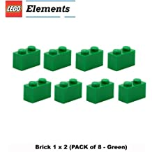 Lego Parts: Brick 1 x 2 (PACK of 8 - Green)