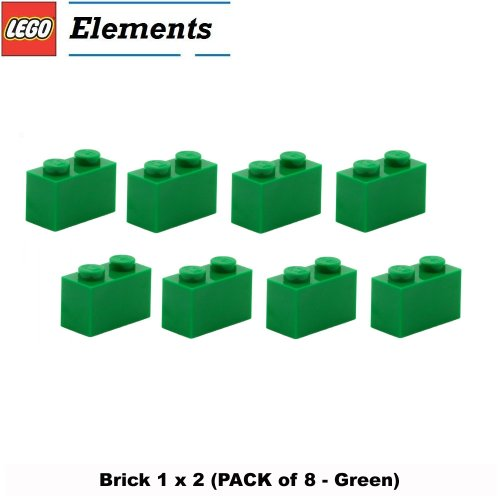 Lego-Parts-Brick-1-x-2-PACK-of-8-Green