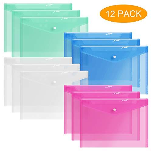 SkyRainbow 12 Plastic Envelopes, Premium Quality Clear Document Folders, Poly Envelope Folders, Transparent Project Envelope Folders with Snap Button Closure, A4 Letter Size File Envelopes (4 Colors)