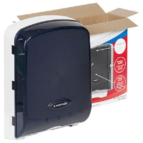 Marathon Combo Folded Towel Dispenser Color Smoke, Holds C-Fold, S-Fold, and M-Fold