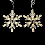 Set of 9 Clear Icicle Snowflake Multi-Function Christmas Lights with Controller Box