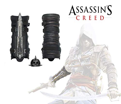 Acrim Toys Assassins Creed IV 4 Black Flag Pirate Hidden Blade Gauntlet Cosplay Replica with Skull Buckle Halloween Play]()