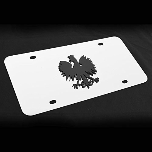 Stainless Steel Decor License Plate w Poland Polish Eagle Metal Decorative Emblem Decal Ornament Mirror Polish or Black - Polish Eagle Emblem