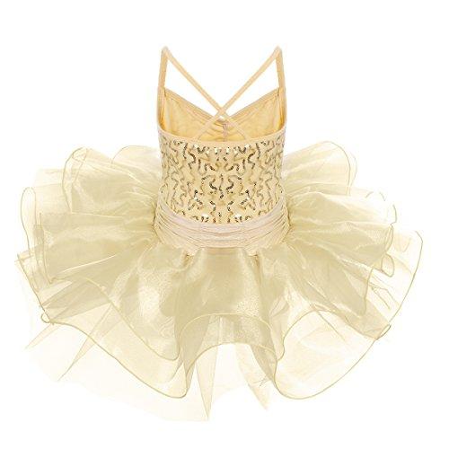 Dress Dance Ragazze Costumi Champagne Body Anni Obeeii Maniche Tutu 10 Danza Di Glitter Tutù Ballet Canotta Balletto 2 Sequined Senza 8xd0qAw