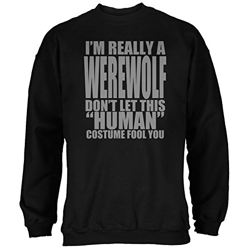 [Halloween Human Werewolf Costume Black Adult Sweatshirt - Medium] (Human Wolf Costume)