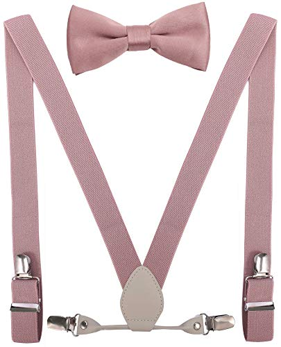 YJDS Kids Leather Suspenders and Bowtie Set Elastic for Wedding Blush Pink 39'' ()