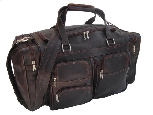 Piel Leather 20In Duffel Bag with Pockets, Chocolate, One Size by Piel Leather