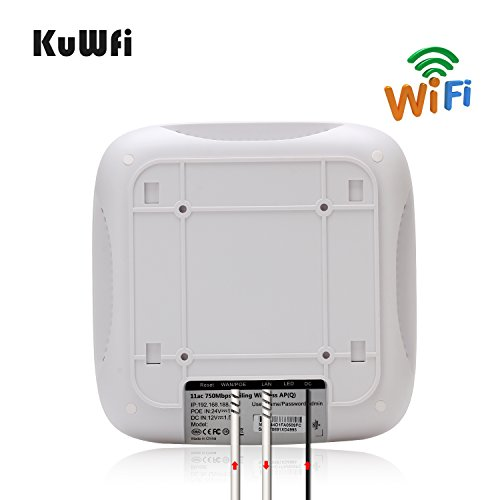 KuWFi Ceiling Mount Wireless Access Point, Dual Band Wireless Wi-Fi AP Router with 24V POE Long Range Wall Mount Ceiling Router Supply a Stable Wireless Coverage by KuWFi (Image #3)