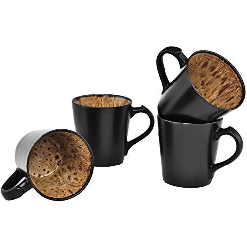 (Culver VOG Ceramic Mug, 14-Ounce, Black Brown, Set of)