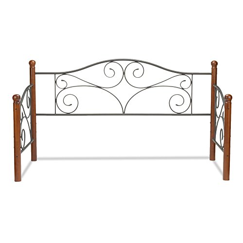 Leggett & Platt Doral Metal Daybed Frame with Scrolled Spindle Panels and Walnut Colored Wood Finial Posts, Matte Black Finish, Twin