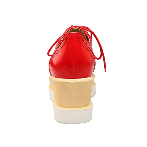 Toe Women's Red Up WeenFashion Kitten PU Solid Lace Heels Square Pumps Shoes cgdYwqwP