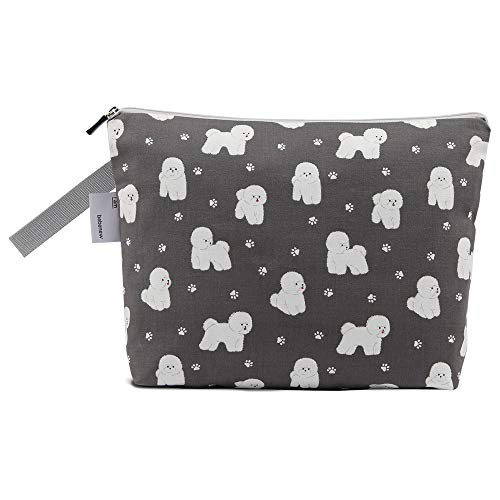 Bebenew Waterproof Diaper Wet/Dry Bags, 12x9x2 inches, Washable, Reusable,Travel, Beach, Pool, Daycare, Soiled Baby Items,Yoga, Gym Bag for Swimsuit or Wet Clothes, Bichon Printed Design (Charcoal)