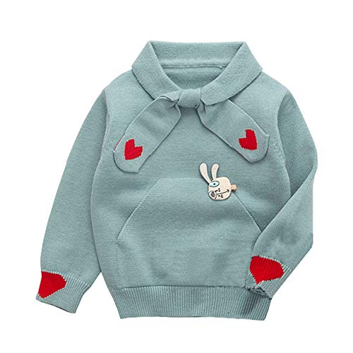 (LOSORN ZPY Baby Girl Sweater Cotton Todder Knit Heart Long Sleeve Pullover Sweatshirt Light Grey 120)