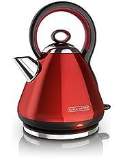 BLACK+DECKER Electric Kettle, Cordless Tea Kettle, Red Stainless Steel, 1.7L, KE2900RC