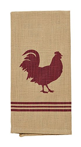 Olivia's Heartland Red Rooster Dishtowel - Country Farmhouse Kitchen Dish Towels