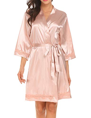 (Ekouaer Women Satin Robe Short Sleeve for Bride Bridesmaid Valentine's Day Robe Champagne L)