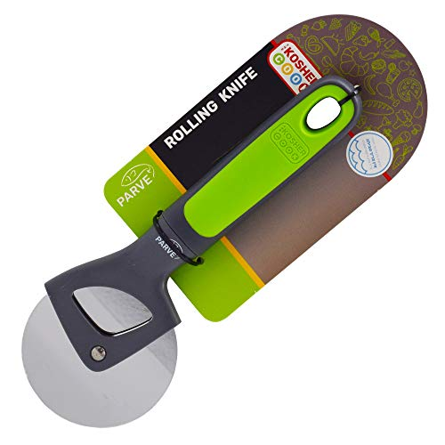 - Parve Green Pizza Wheel - Ultra Sharp Rolling Knife, Stainless steel Cutter - Long Silicone Handle, Comfortable Grip - Color Coded Home and Kitchen Accessories by The Kosher Cook