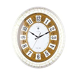 VariousWallClock Wall clock household pendulum clocks 20-inch oval creative living room pastoral simplicity quiet European living room clock wood grain