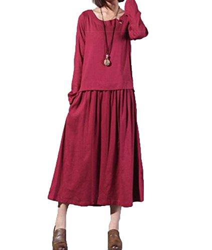 イーウェル褐色どちらもレディース きれいめ 秋 冬 春 ゆったり 大きい 長袖 ロング 無地 シンプル マキシ ワンピース レッド M