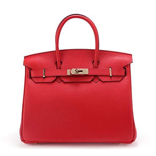 WWAVE Dames Main Fashion Litchi fourre 25 red à Cuir Tout Platine Unique d'épaule Femelle de modèle Sac Cuir Couche Baotou Sacs pour Vache IERrIw