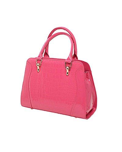 Whoinshop coccodrillo-Borsa da donna con tracolla, maniglia superiore Borse e borse a spalla (rosa)