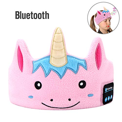Kids Headphones Headbands,WU-MINGLU Soft Fleece Bluetooth Headbands Sleep Headphones wih Ultra-Thin Speakers, Children's Earphones for School, Home and Travel, Idea