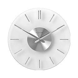 NEXTIME Glass Stripe Wall Clock 10.1 | Silent Tick | Modern Frosted Glass Dutch Design