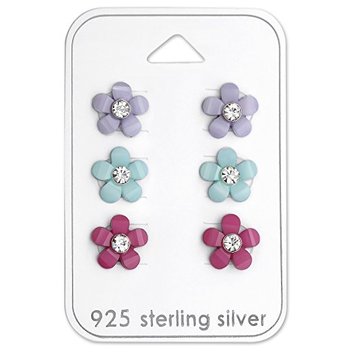 Studs Crystal Centers - 925 Sterling Silver Hypoallergenic (SET OF 3) Colored Flowers w/ Crystal Center Stud Earrings for Girls or Women 29111
