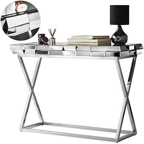 CARME Knightsbridge - Consola de espejo con efecto de cristal 3D, patas cromadas, color gris