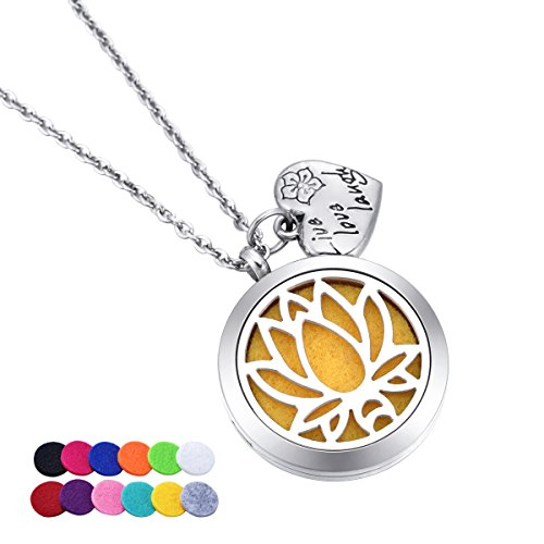 HooAMI Aromatherapy Essential Oil Diffuser Necklace Lotus Locket Pendant with Live Love Laugh Charm