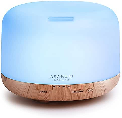 2017 ASAKUKI 500ml Premium, Essential Oil Diffuser, 5 In 1 Ultrasonic Aromatherapy Fragrant Oil Vaporizer Humidifier, Purifies The Air, Timer and Auto-Off Safety Switch, 7 LED Light Colors