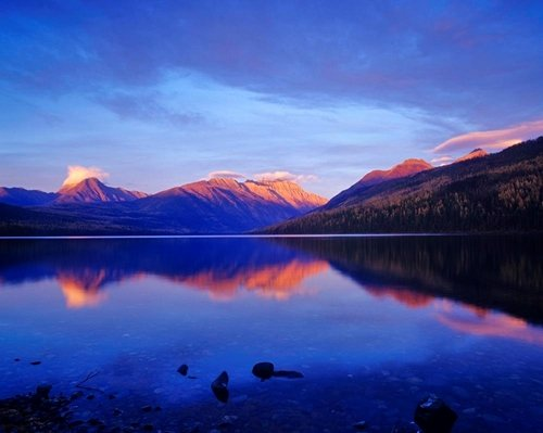 "Easy Art Prints Chuck Haney's 'Sunset Colors The Peaks In Glacier National Park In Montana' Premium Canvas Art - 16"" x 20"""