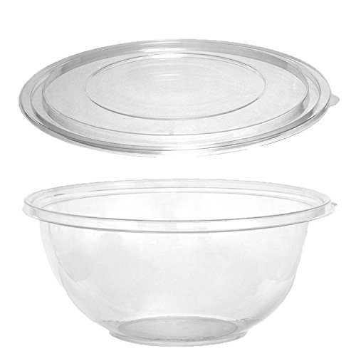 Party Essentials N432021 Soft Plastic 320-Ounce Serving/Catering Bowls, Clear with Clear Lids, Set of (Large Plastic Serving Bowls)