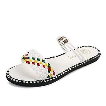 KPHY Pretty/Zapatos de mujer/Verano Sandalias Zapatillas Zapatos De Mujer Tacon Bajo Tipo De Letra El Fondo Grueso Frío Remolque.