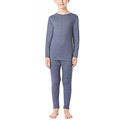 32 Degrees Heat Boys Long Sleeve Crew Neck and Legging Set Heather Navy Large