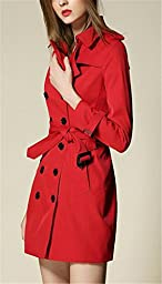 Women\'s Elegant Double-Breasted Lapel Long Slim Fit Trench Coat with Belt Red