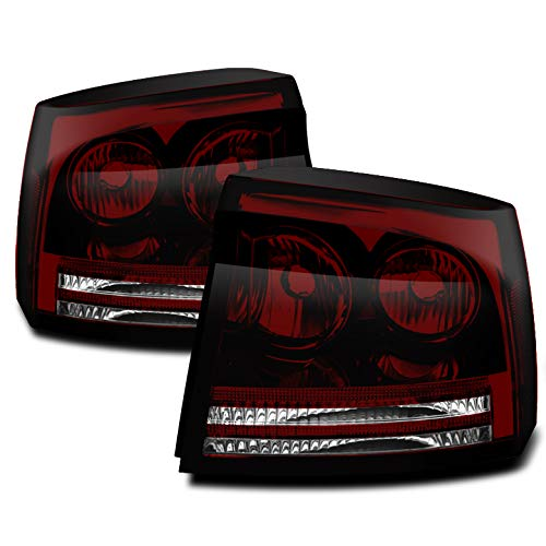 Xtune 2006-2008 Charger Direct Fit Smoked Red (Smoke Tinted) Tail Lights Pair L+R 2007