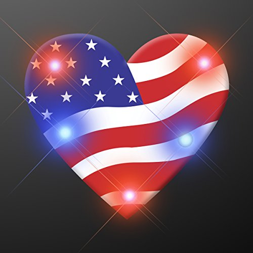 - Light Up Heart of America Flashing Blinking LED Body Light Lapel Pins (25-Pack)