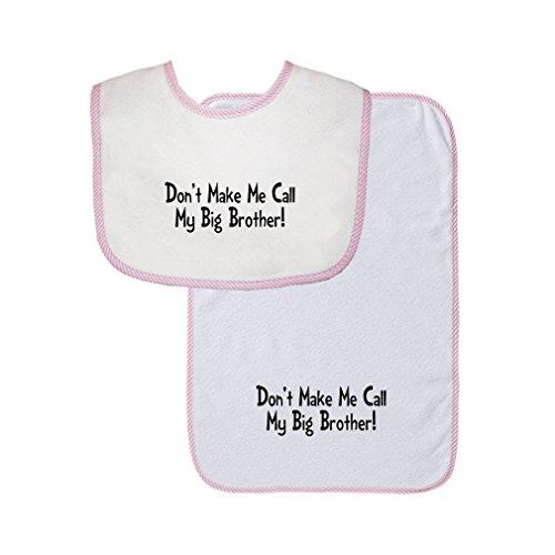 Don'T Make Me Call My Big Brother! Cute Rascals Gingham Baby Bib & Burb Set Pink (Big Brother Bib)