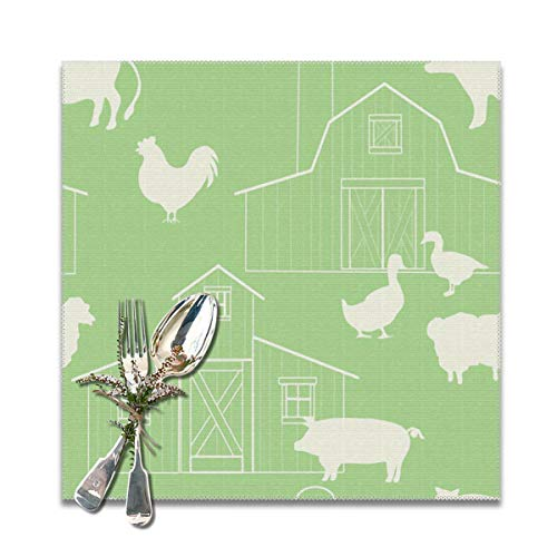 Scarlett Life Hall Green House Rooster Duck Animal PatternDecorative Polyester Placemats Set of 6 Printed Square Plate Cushion Kitchen Table Heat-Resistant Washable Dining Room Family - Halls Greenhouse