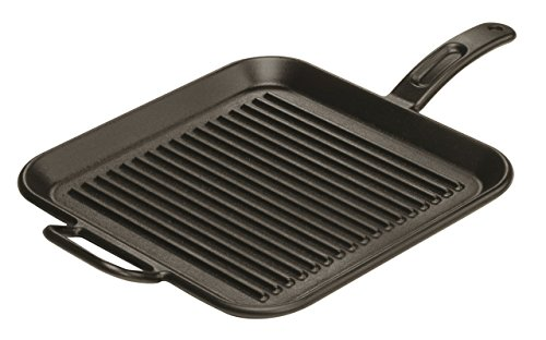(Lodge 12 Inch Square Cast Iron Grill Pan. Ribbed 12-Inch Square Cast Iron Grill Pan with Dual Handles.)