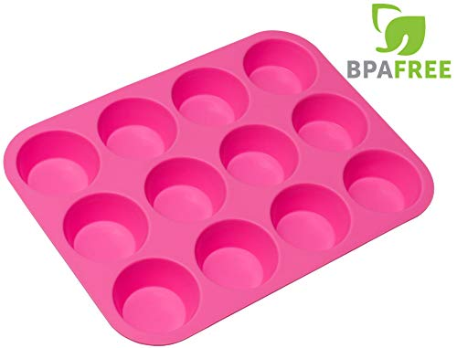 RagaMuffins Premium Silicone Cupcake Baking Pan | Mold | Muffins |12 Cup | 100% NonStick | FDA Approved Food Grade Silicone in PINK