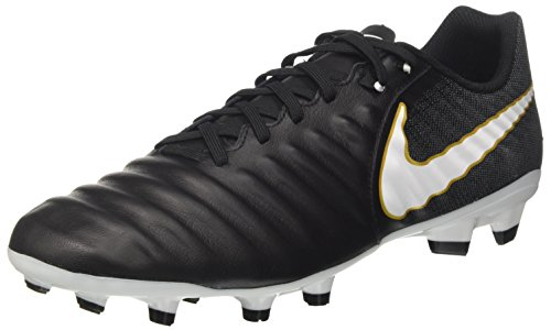 Nike Men's Tiempo Ligera IV Leather Firm-Ground Soccer Cleats (8.5 D(M) US) Black/White